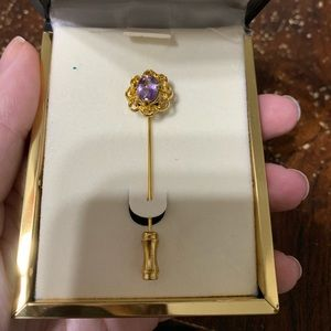 Purple and gold vintage pin